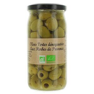olive verte dénoyauté aux herbes de Provence